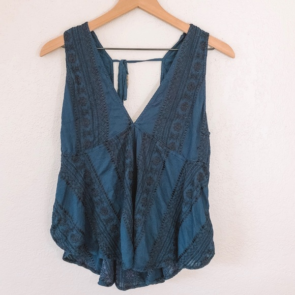 Free People Tops - Free People Blue and Black Embroidered Top